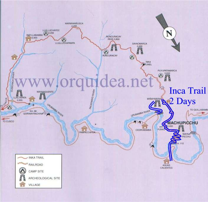 Map Inca Trail tour